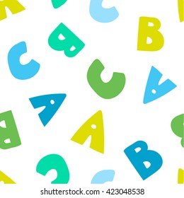 Seamless Vector Pattern Of Letters Blue Green Colors