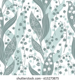 Seamless vector pattern with lilies of the valley. Floral silhouettes on a white background.