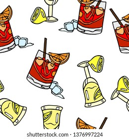 Seamless vector pattern of limoncello and negroni cocktails. Italian drinks vector background.