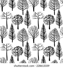 Seamless vector pattern in a linear style trees. Trees without leaves, delicate branches, black and white background.