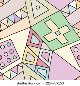 Seamless vector pattern, lined asymmetric geometric background with rhombus, triangles. Print for decor, wallpaper, packaging, wrapping, fabric. Triangular graphic design. Line drawing