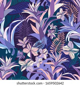 Seamless vector pattern lined tropical leaves and flowers ornament in violet and blue tones. Can be used for printing on paper, stickers, badges, bijouterie, cards, textiles.