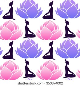 seamless vector pattern with lotus flowers and woman doing yoga