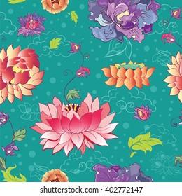 Lotus motif images stock photos vectors shutterstock seamless vector pattern with lotus flowers peonies and chrysanthemums oriental asian motif mightylinksfo