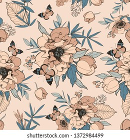 Seamless vector pattern with lush bouquet of flowers and leaves