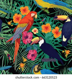 Seamless vector pattern with macaw parrots,  toucans, flowers, leaves, feathers.