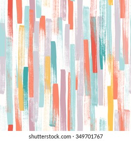 Seamless vector pattern made by hand drawn thin paint strokes. In happy pastel colors.