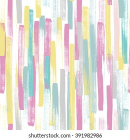 Seamless vector pattern made by hand drawn paint strokes. Pastel colors.