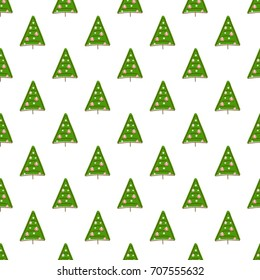 Seamless vector pattern made with hand drawn Christmas trees, Holiday Christmas background