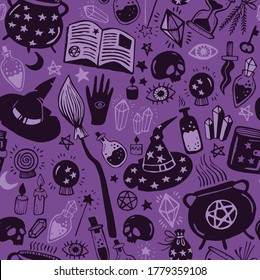 Seamless vector pattern, magic hand drawn doodle. Collection halloween elements. Magic cauldron, pot, hat, broom, potions, books, magic wand, hourglass. Purple mystical pattern.
