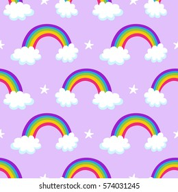 Seamless vector pattern with magic rainbows, lovely background. Good for textile fabric design, wrapping paper and website wallpapers.