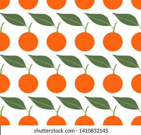 Seamless vector pattern with mandarins on white background. Can be used for graphic design, textile design or web design.