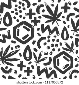 Seamless vector pattern. Marijuana leaves and cannabis oil for medical purposes. Bright memphis style background.