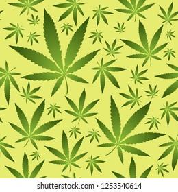 Seamless vector pattern with marijuana leaves illustration