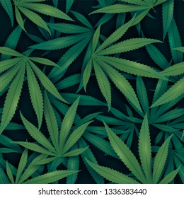 Seamless VECTOR pattern with marijuana leaves in dark green color.
