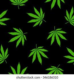Seamless vector pattern of marijuana leaves on a black background.