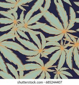 Seamless vector pattern with marijuana leaves for wrapping, wallpaper, ceramic, craft