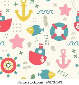 Seamless vector pattern of marine symbols: boat, anchor, steering wheel, fish and sea star. Cartoon marine icons. Kid's elements for scrap-booking. Hand drawn vector illustration.