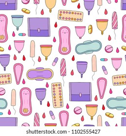 Seamless vector pattern with menstruation theme and female hygiene and health objects.