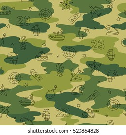 Seamless vector pattern of military icons. Background for your design. Wrapping paper. Defender of the Fatherland Day.