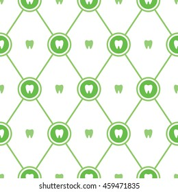 Seamless vector pattern. Modern background for a dentist or dental clinic. Natural green color.