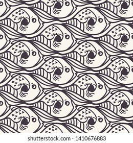 Seamless vector pattern. Modern escher  fish pattern. Seamless repeating animal vector. Tessalation background. Abstract fishy nautical surface design. Textile fashion, all over print, fun wallpaper
