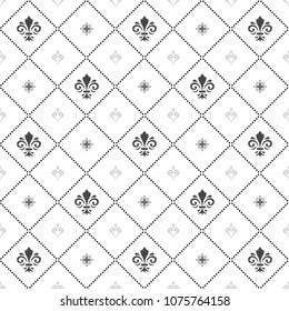 Seamless vector pattern. Modern geometric ornament with silver royal lilies. Classic vintage background