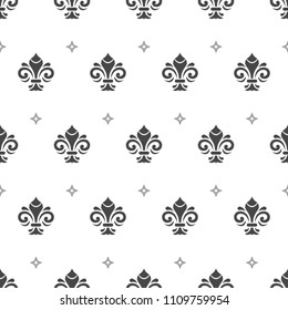 Seamless vector pattern. Modern geometric ornament with stars and royal lilies. Classic vintage background