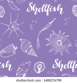 Seamless vector pattern with mollusks, isolated on violet background,white contour.For children's books, textiles, wallpapers, factories, backgrounds, design, decor, decoration, print, poster