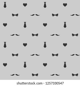 Seamless vector pattern with moustache, heart, tie and necktie