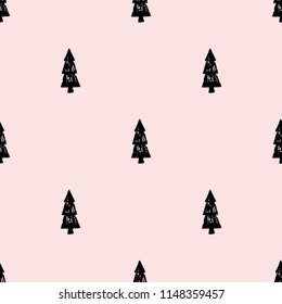 Seamless vector pattern with nice black christmas trees on pink background. Simple flat style.Hand drawn trees. Christmas edition. Perfect for greeting cards, wrapping paper, banners, etc.