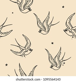 Seamless Vector Pattern. Old School Tattoo Swallows, fully editable.