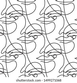 Seamless vector pattern with one line art drawing of a face in black