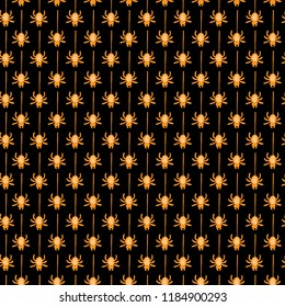 Seamless vector pattern with orange spiders on black background. Seamless background for halloween. Good for packaging design, halloween packaging paper, thematical background