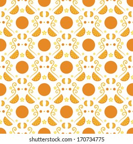 Seamless vector pattern. Oranges - taste of summer.