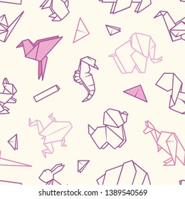 seamless vector pattern with origami animals