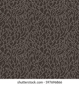 Seamless vector pattern of ornate plant with berries or leaves. Twigs ornamet
