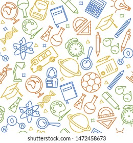 Seamless vector pattern with outline icons symbolizing education, school, science, study, learning. Back to school vector illustration and background