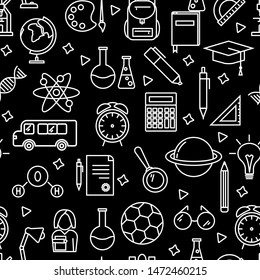 Seamless vector pattern with outline icons symbolizing education, school, science, study, learning on black background. Back to school vector illustration and background