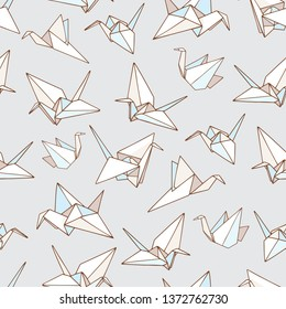 Seamless vector pattern with outline illustration of the origami paper crane bird.