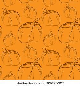 Seamless vector pattern with outline orange pumpkin