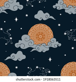 Seamless vector pattern with ox zodiac sky on dark blue background. Horoscope symbol wallpaper design with Chinese moon. Mystical space fashion textile.