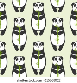Seamless vector pattern - panda with bamboo