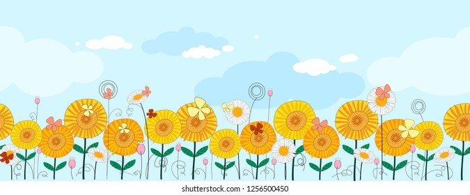 Seamless Vector seamless pattern in panorama orange flowers with flying butterfly on blue background, Illustration landscape mixed sunflower in yellow and orange tone with wild flower