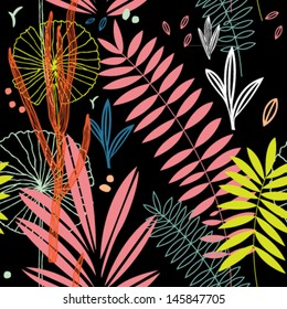 Seamless vector pattern of paradise garden at night.