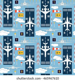Seamless vector pattern with passenger airplanes and aviation signs. Can be used for graphic design, textile design or web design.