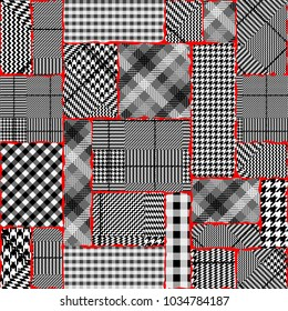 Seamless vector pattern. Patchwork of Classic Glen Plaid patterns.