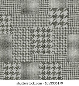 Seamless vector pattern. Patchwork of Classic Glen Plaid patterns. Vector image.
