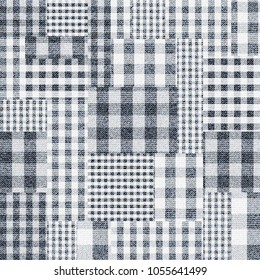 Seamless vector pattern. Patchwork of Plaid patterns. Imitation of a fabric texture. Vector image.
