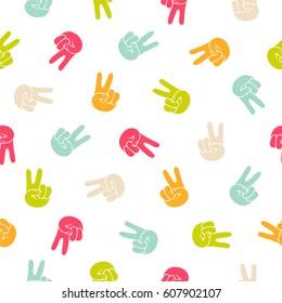 Seamless vector pattern - peace hand symbol